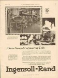 Ingersoll-Rand 1928 Vintage Ad Gas Compressor Careful Engineering