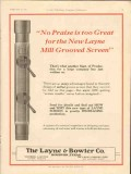 Layne Bowler Company 1928 Vintage Ad Oil Mill Grooved Screen No Praise