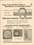 Martin-Loomis Corp 1928 Vintage Ad Oil Field Driller Horseshoe Neck