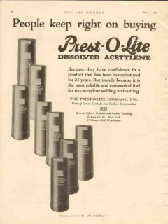 prest-o-lite company 1928 people buying dissolved acetylene vintage ad