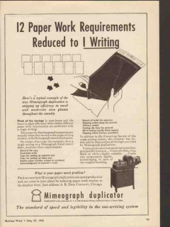 a b dick company 1943 paper work requirements mimeograph vintage ad