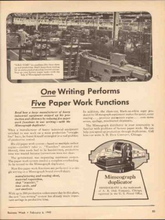a b dick company 1943 paper work functions mimeograph vintage ad