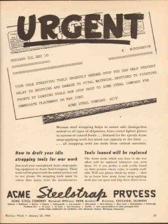 acme steel company 1943 urgent idle strapping tools needed vintage ad