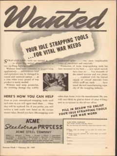 acme steel company 1943 wanted idle strapping tools needed vintage ad
