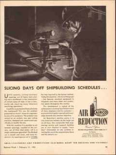 air reduction 1943 airco days off shipbuilding schedules vintage ad