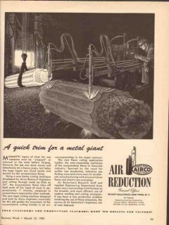 air reduction 1943 airco quick trim metal giant ingots ww2 vintage ad