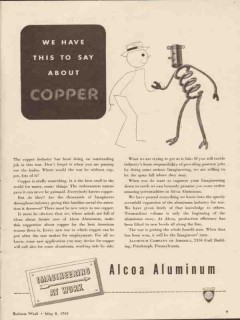 aluminum company of america 1943 we have say about copper vintage ad