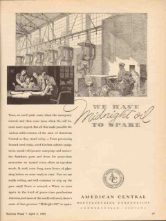 american central mfg company 1943 midnight oil to spare vintage ad