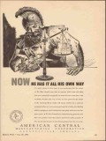 american central mfg company 1943 now has all his own way vintage ad