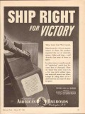association of american railroads 1943 ship right victory vintage ad