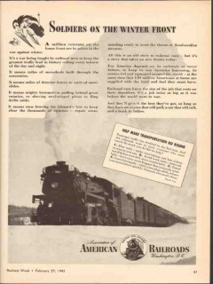 association of american railroads 1943 soldier winter front vintage ad