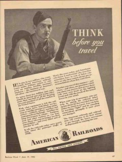 association of american railroads 1943 think before travel vintage ad
