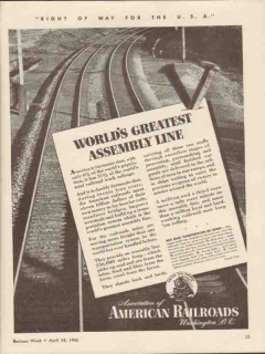 association of american railroads 1943 worlds greatest ww2 vintage ad