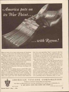 american viscose corp 1943 puts on war paint with rayon ww2 vintage ad