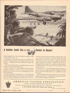 american viscose corp 1943 bomber lands like cat rayon ww2 vintage ad