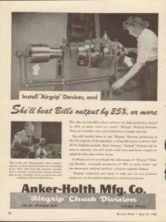 anker-holth mfg company 1943 install airgrip devices output vintage ad