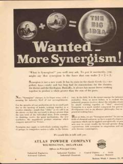 atlas powder company 1943 big idea wanted more synergism vintage ad