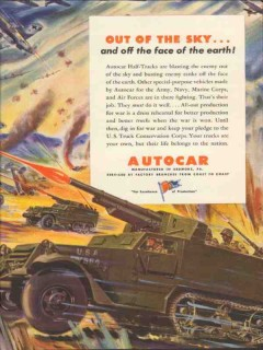 autocar 1943 out of the sky half-tracks ww2 military truck vintage ad
