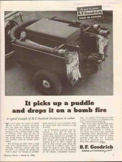 b f goodrich 1943 picks up puddle drops on bomb fire vintage ad