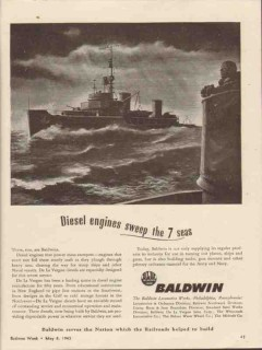 baldwin locomotive works 1943 diesel engines sweep seas vintage ad