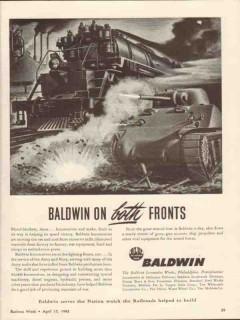 baldwin locomotive works 1943 on both fronts diesel engines vintage ad