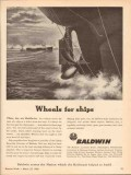 baldwin locomotive works 1943 wheels ships diesel engines vintage ad