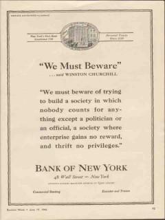 bank of new york 1943 we must beware winston churchill vintage ad