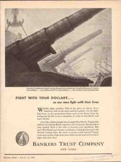 bankers trust company 1943 work fight sacrifice victory ww2 vintage ad