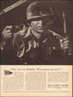 bausch lomb optical company 1943 we need your eyes goggles vintage ad