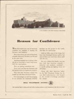 bell telephone system 1943 reason for confidence ww2 vintage ad