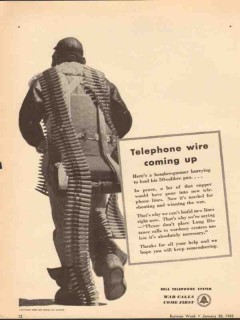 bell telephone system 1943 wire coming up ww2 propaganda vintage ad