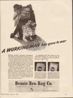 bemis brothers bag company 1943 workingman has gone to war vintage ad