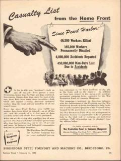 birdsboro steel foundry machine co 1943 casualty list ww2 vintage ad