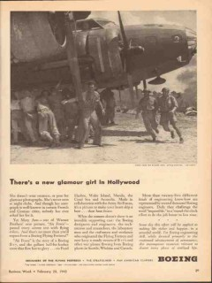 boeing 1943 new glamour girl hollywood flying fortress ww2 vintage ad