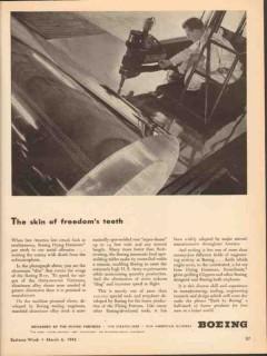 boeing 1943 skin freedom teeth flying fortress ww2 aircraft vintage ad