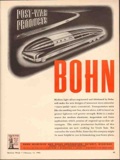 bohn aluminum brass corp 1943 post-war products ww2 vintage ad