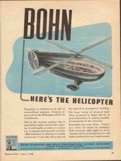 bohn aluminum brass corp 1943 heres the helicoptor ww2 vintage ad