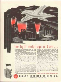 bryant chucking grinder co 1943 light metal age is born ww2 vintage ad