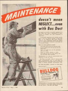bulldog electric products company 1943 maintenance bus duct vintage ad