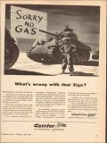 carrier corp 1943 whats wrong with sign sorry no gas ww2 vintage ad