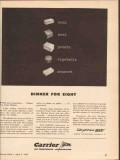 carrier corp 1943 dinner for eight dehydrated food ww2 vintage ad