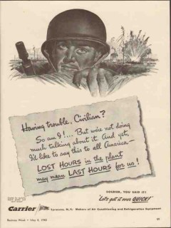 carrier corp 1943 having trouble civilian soldier hours ww2 vintage ad