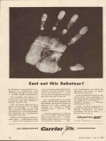 carrier corp 1943 cast out this saboteur fingerprint ww2 vintage ad