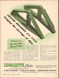 celanese celluloid corp 1943 custom molded bridging plastic vintage ad