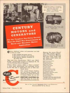 century electric company 1943 toughest sea-going service vintage ad