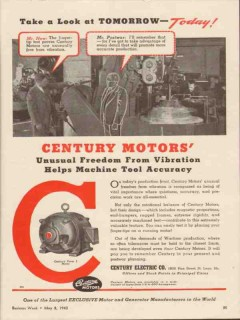 century electric company 1943 freedom from vibration motor vintage ad