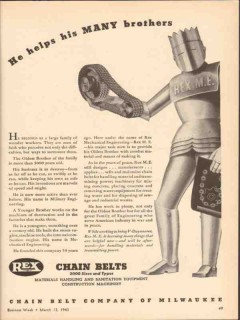 chain belt company 1943 he helps his many brothers rex ww2 vintage ad