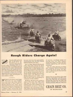 chain belt company 1943 rough riders charge again ww2 vintage ad