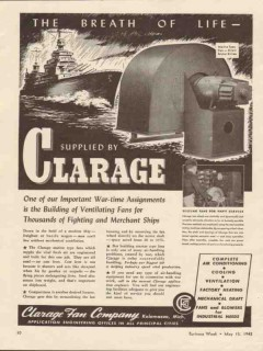 clarage fan company 1943 breath life ventilating fans ships vintage ad