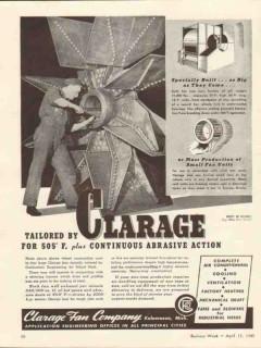 clarage fan company 1943 continuous abrasive action vintage ad